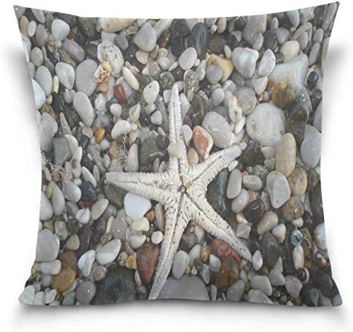 Throw Pillow Case Funda de cojín Decorativa Funda de Almohada Multifuncional, Starfish Seashell Pebble Sand Beach Sofá Cama Funda de Almohada Funda de Doble Cara