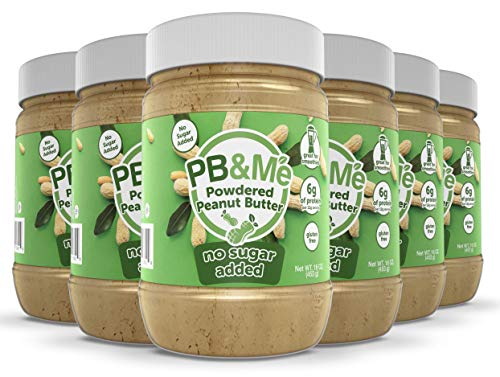 PB&Me Powdered Peanut Spread, Keto Snack, Gluten Free, Plant Protein, 16 Ounce (No Sugar Added, Pack of 6)