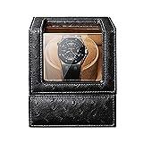 CCAN Enrollador automático de Reloj, Caja automática de enrollador de Reloj Individual 5 Modos de rotación Fuente de alimentación Dual Almohada Flexible para Reloj Patrón de Avestruz Cuero