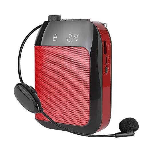 WFLJ Portatil Personal Amplificador de Voz con Inalámbrico Micrófono Auricular, Sistema de PA, para Múltiples Ubicaciones como Aulas, Reuniones y Exteriores,Rojo