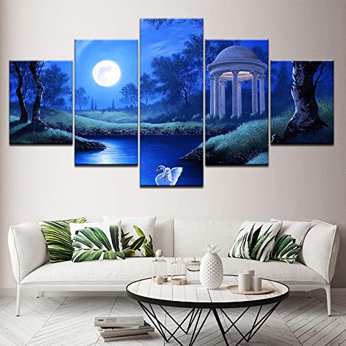 YTDZ GCKJ 5 Panels Blue night sky moon European garden landscape 60''Wx32''H Frameless Artwork Canvas Prints Pictures Paintings on Canvas Wall Art for Bedroom Living Room Office Home Wall Decor