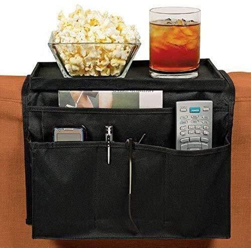 Poltrona/divano con portaoggetti, divano con porta-telecomando TV, divano con vassoio portaoggetti, con tasche e vassoio per bicchieri e altro