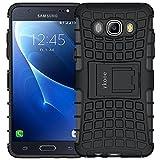 ykooe Handys Schutzhülle Ständer für Samsung Galaxy J5 (2016) Hülle 5.2 Zoll (Schwarz)