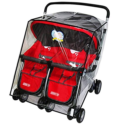 Universal Waterproof Twins Baby Stroller Pushchair Raincover Side by Side Double Buggy Pram Transparent PVC Rain Cover for Most Twins Pushchair