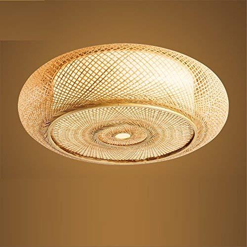 Vintage Deckenlampe Japanische Bambus Rattan - Laterne kreative Deckenleuchte runde LED-für das Schlafzimmer, Wohnzimmer, Arbeitszimmer, Balkon, Eingang, Gang, 40 * 12 CM