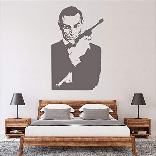 Muurtattoo, zelfklevend, pistool, coole stijl, decoratie voor het huis, voor jongeren, slaapkamer, jongens, slaapkamer, heren, kelder, deur, raam, stickers, kunststof, 42 x 66 cm