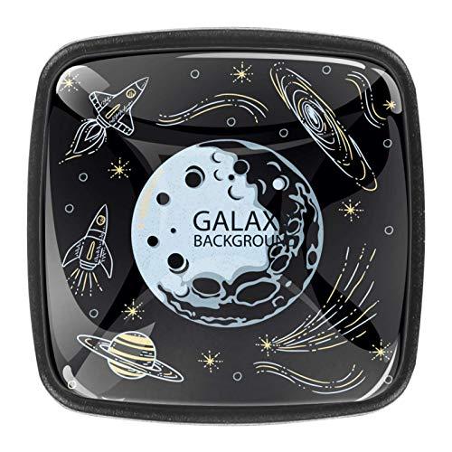 4 pomos de cristal para puerta de armario y cajón, diseño moderno de galaxia