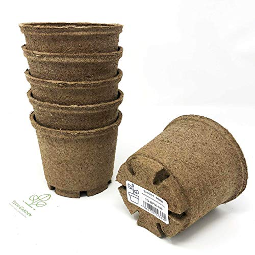 Tech-Garden 12 Pack of - 10 cm Biodegradable Biopot Plant Pots Eco Friendly & Compostable Round Seeding Germinating Plastic Free Peat Growing Sturdy Growing Pot with Drainage Holes