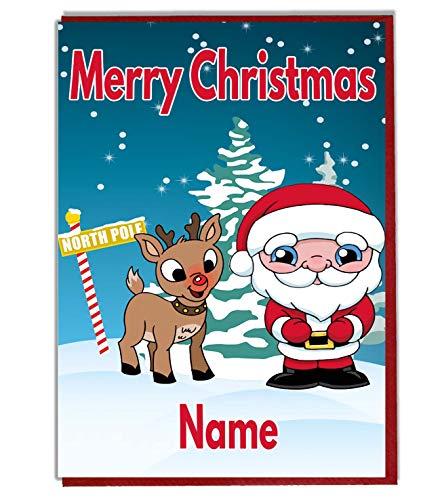 Personalised Children's Christmas Card - Santa & Reindeer - Any Name