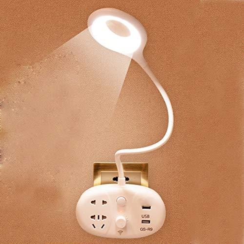 JIE KE Lámpara del LED, luz de la noche de múltiples funciones del enchufe, lámpara de cabecera con puerto USB, for los niños, dormitorio estudio, sala de estar (Size : Base)