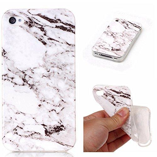 pinlu® Etui Handyhülle Für iPhone 4 4S 4G Weich TPU Silikon Ultra Dünn Protective Case Marmor Backcover Kratzfeste Entwurf Marble Linien Muster Schwarz Weiß