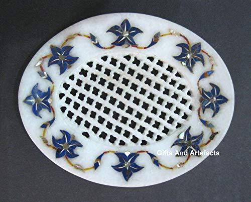 Geschenken En Artefacten Ovale Vorm Marmeren Zeep Schaal Lapis Lazuli Edelstenen Marquetry Art Met Filigraan Werk Handgemaakte Accessoires Uit India