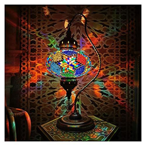 Lámpara de Mesa Lámpara de mesa con bombilla E14, lámpara de mesa LED romántica turca, dormitorio, sala de estar, restaurante, Hotel, lámpara de escritorio Art Deco Lámpara Mesilla ( Color : Orange )