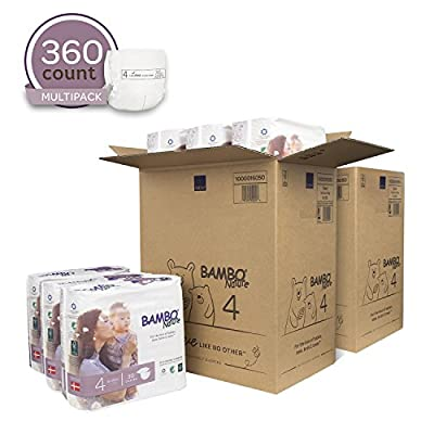 Bambo Nature Eco Friendly Premium Baby Diapers for Sensitive Skin, Size 4 (15-40 lbs), 360 Count (2 Cases of 180)