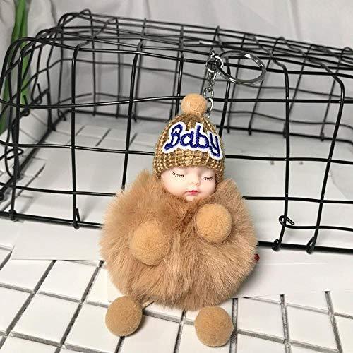 Sinzong rugzak hanger meisje leuke haarbalpop hanger sleutelhanger tas pluche pop 2 stuks bruin
