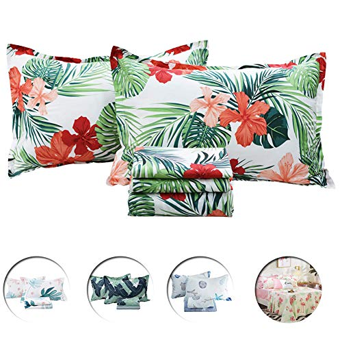 FADFAY Green Leave Sheets 100% Cotton Queen Hawaiian Bedding Tropical Red Hibiscus Palm Leaves Print 600 TC Deep Pocket Fitted Sheet 4-Pieces: 1 Flat Sheet, 1 Fitted Sheet, 2 Pillowcases