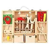 Juguete Caja de herramientas de reparación, Juego de caja de herramientas multifunción portátil de bricolaje de madera para niños Combinación educativa Juego de herramientas de reparación
