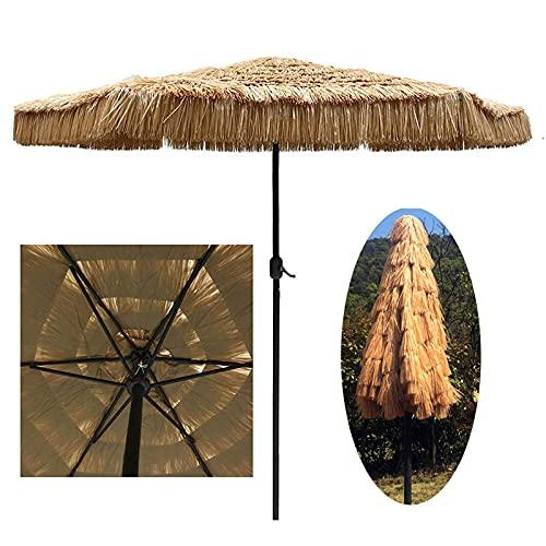 LDJ Sombrilla De Patio, Parasol Jardin Rafia Estilo Hawaiano Sombrilla Terraza Rectangular con 8 Costillas Sombrilla Playa para Exterior Jardín Terraza Balcón