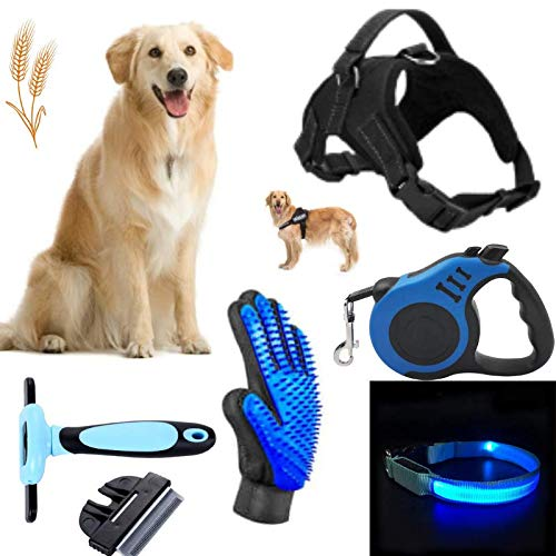 N/AB 5in1 Dog Accessories & Grooming Supplies LED Dog Collar Adjustable Harness 16 Ft. Retractable Leash Deshedding Comb amp Brush/Massaging Glove Quality Dog & Puppy Essentials/Stuff by Gaze