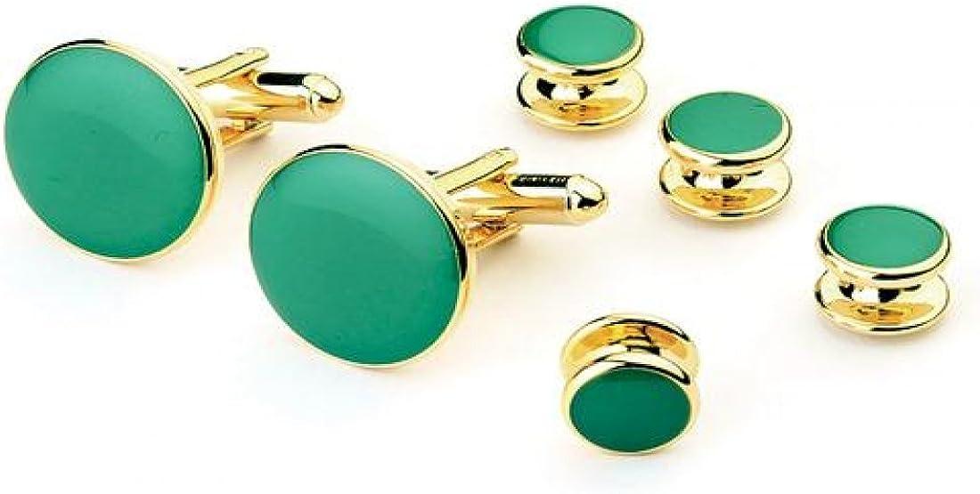 Shamrock Green Tuxedo Studs and Cufflinks Gold Trim