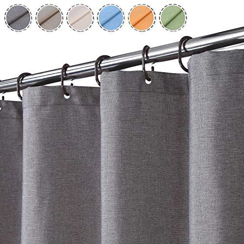 Flachs Leinen wie 240GSM Schwerer Stall Duschvorhang für Badezimmer mit Haken Hotel Luxus Stoff waschbar,grau,120x200 cm