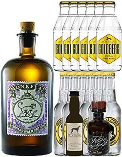 Gin-Set Monkey 47 Schwarzwald Dry Gin 0,5 Liter  Windspiel Premium Dry Gin Deutschland 0,04 Liter  Filliers Premium Dry Gin Belgien 0,05 Liter MINIATUR, 6 x Thomas Henry Tonic Water 0,2 Liter, 6 x Goldberg Tonic Water 0,2 Liter