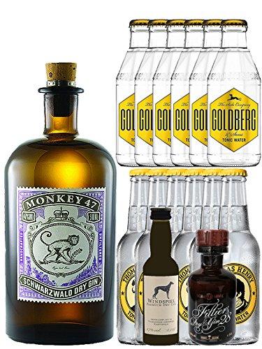 Gin-Set Monkey 47 Schwarzwald Dry Gin 0,5 Liter + Windspiel Premium Dry Gin Deutschland 0,04 Liter + Filliers Premium Dry Gin Belgien 0,05 Liter MINIATUR, 6 x Thomas Henry Tonic Water 0,2 Liter, 6 x Goldberg Tonic Water 0,2 Liter