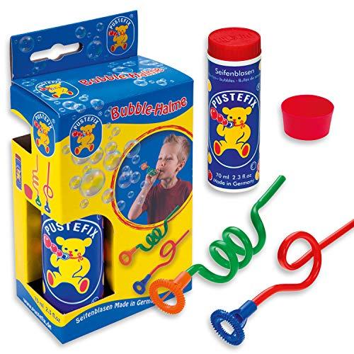 Pustefix 2 Bubble-Halme I 70 ml Seifenblasenwasser I Bubbles Made in Germany I Seifenblasen Spielzeug für Kindergeburtstag, Hochzeit, Sommerfest & als Gastgeschenk I Spaß für Kinder & Erwachsene