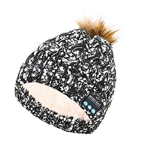 KPPONG Winter Essential verdicken warme drahtlose Bluetooth Beanie Mütze Freisprecheinrichtung Musik Lautsprecher Weiß