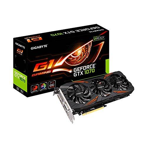 Gigabyte GeForce GTX 1070 G1 Gaming - Tarjeta gráfica de 8 GB (GDDR5, 16 nm, 1822 MHz/1620 MHz, DirectX 12, OpenGL 4.5)