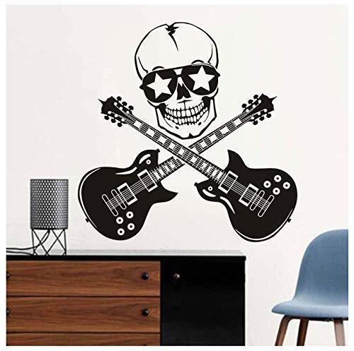 Arte De La Moda Etiqueta De La Pared Mural Fresco Guitarra Decoración Para El Hogar Sala De Estar Desmontable Diy Vinilo Calavera Y Guitarra Rock Etiqueta De La Pared 59X59Cm