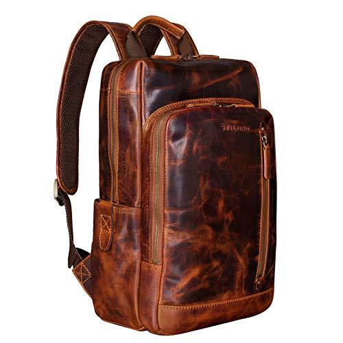 STILORD 'Johnson' Zaino Business Uomo Pelle Vintage Zaini per 13,3 pollici MacBook Laptop Daypack per Ufficio Zainetto Grande in Vera Pelle, Colore:kara - cognac