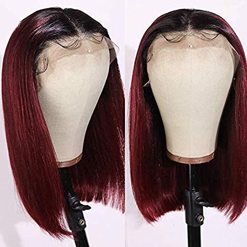 Riya Hair 8a ombre Color 1B / 99j Short Bob perruque centrale 100% Brazil Remy free - gel lesbienne pre perruque 150% densité 12 pouces