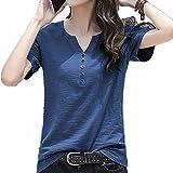 N\P Camiseta de manga corta de algodón de verano suelta blusa con cuello en V grande
