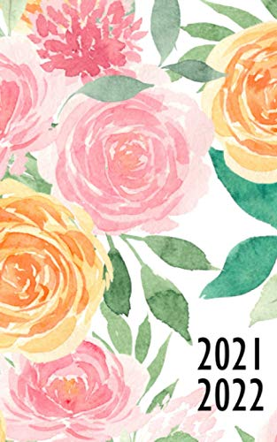 2021 2022: 2 Year Monthly Planner, Compact size 5x8' , sweet watercolor flower cover, 24 month ( January 2021 - December 2022) : time management / Schedule Organizer / Appointments