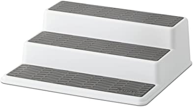 Copco 2555-0189 Non-Skid 3-Tier Spice Pantry Kitchen Cabinet Organizer, 10-Inch, White/Gray