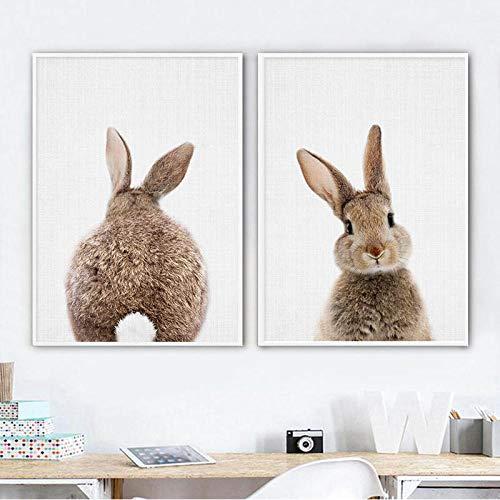 kldfig Bunny Rabbit Tail Wandkunst Bild Woodland Animal Canvas Poster Kinderzimmer Druck Minimalistische Malerei Nordic Kids Baby Room Decor- 50x70cmx2 ungerahmt