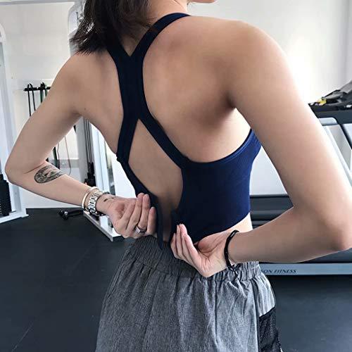 LY-Jeans sous-Vêtements De Sport Femme Antichocs Yoga Stéréotype Dos Soutien-Gorge Poitrine Pad Amovible,Bleu,S