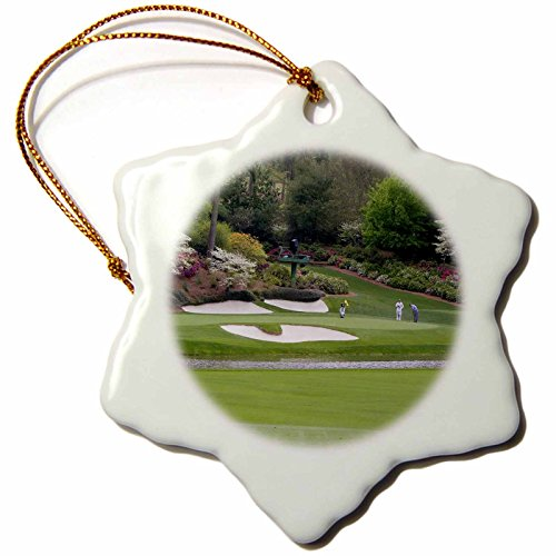 3dRose ORN_48684_1 Augustas Amen Corner Golf Course Where Dreams are Made and Lost Snowflake Porcelain Ornament, 3-Inch