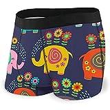 Web--ster Hombres 'S Boxer Briefs de Patrones sin Fisuras con Elefantes Florales - ilustración Vectorial, Calzoncillos Eps Bragas