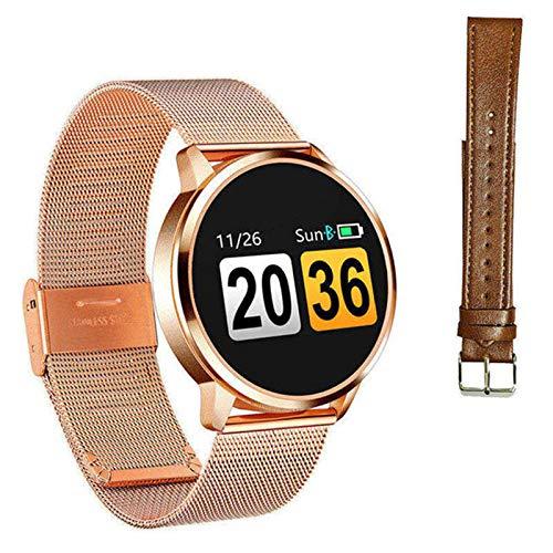 Q8 Bluetooth impermeable reloj inteligente OLED pantalla de color smartwatch señoras moda fitness Tracker monitor ritmo cardíaco para Android Ios, J