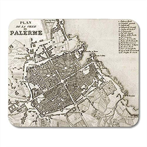 Muis Pad Oude Kaart Van Palermo De Hoofdstad In Sicilië Decor Nonslip Rubber Backing Office Mousepad Muis Mat Gaming Mouse Pad 25X30Cm