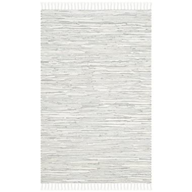 Safavieh Montauk Collection MTK753A Handmade Flatweave Silver Cotton Area Rug (2'6  x 4')