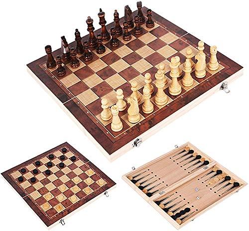 Mirui 3 en 1 Conjunto de ajedrez Plegable de Madera, Conjunto de Damas de Backgammon de ajedrez Plegable portátil, Rompecabezas Regalo Educativo para niños y Adultos (Size : 44 * 44cm)
