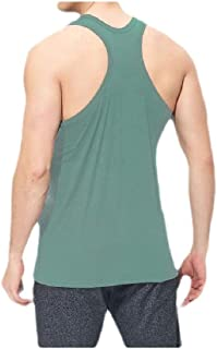 neveraway Mens O-Neck Summer Pure Color Active Stretch Basic Cotton Sleeveless Tee