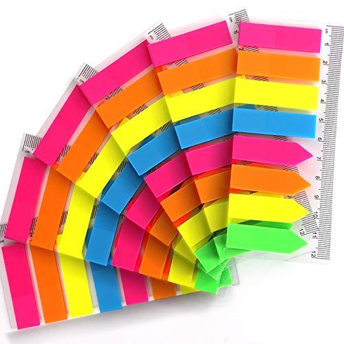 FANDAMEI 6 Packungen Index-Tabs – 960 Stück PET bunte, durchscheinende rechteckige und Pfeil-Haftnotizen, Haftmarker, mit 12 cm Messung, verwendet als Lesezeichen