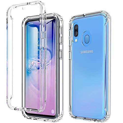 BESINPO Coque Samsung A40, Coque A40 Silicone Antichoc Transparente Anti-Jaune (avec Protection écran) 360 Degrés Protection TPU Integrale Étui Protection Case Etui Housse pour Samsung Galaxy A40