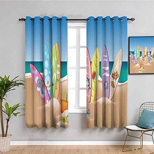 Ocean Decor - Cortinas opacas de alta calidad, una colección de ilustraciones de tablas de surf en la playa de arena, el cielo y el mar, tela impermeable multicolor, 42 x 63 pulgadas