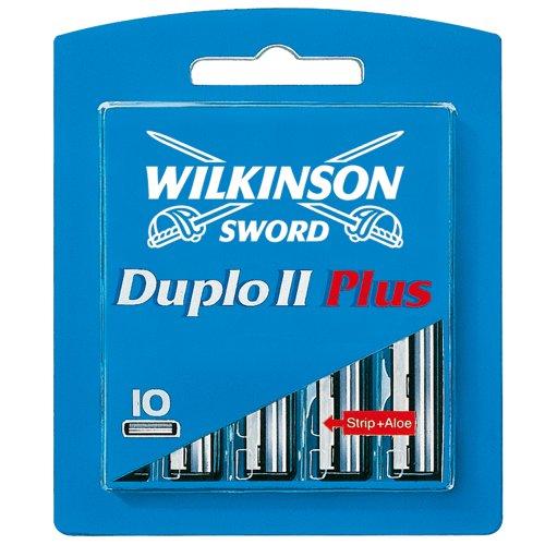 Wilkinson Sword Duplo II Plus Rasierklingen für Herren Rasierer mit Aloe Vera Strip, 10 St