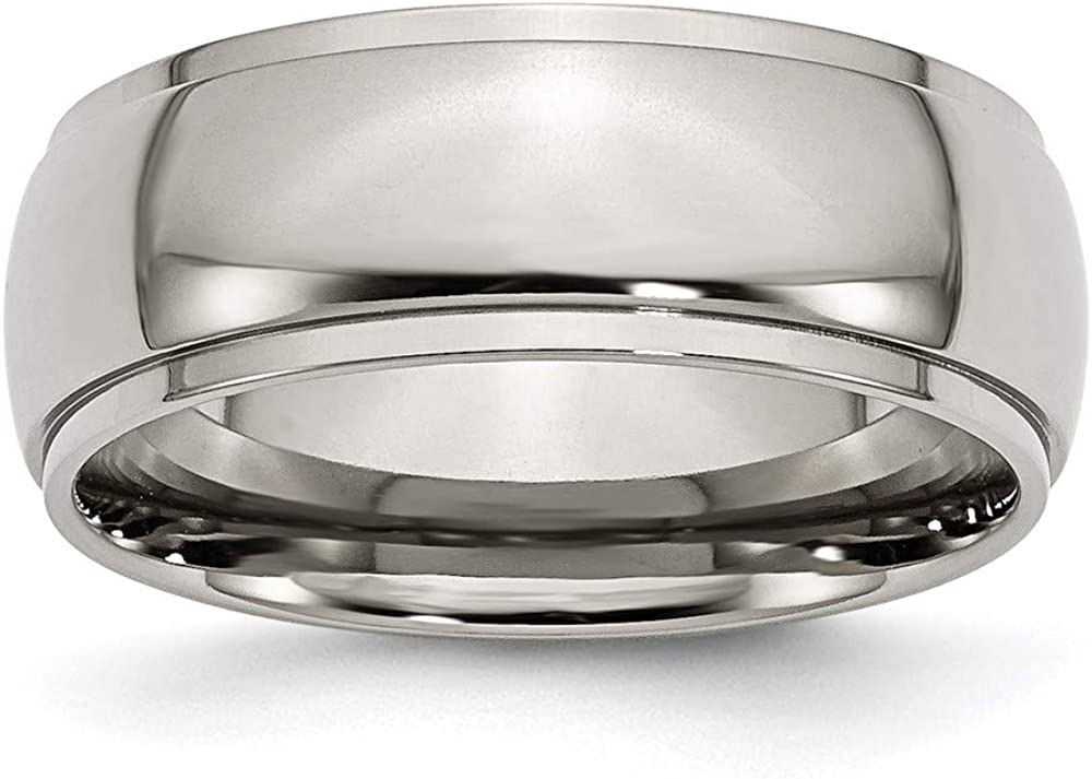 ICE CARATS Titanium 8mm Ridged Edge Wedding Ring Band Classic Domed W/Edge Fashion Jewelry for Women Gifts for Her